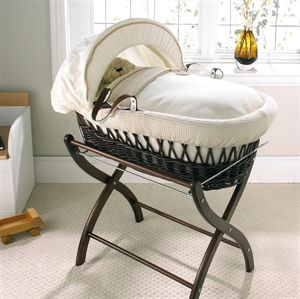 Picture of Izziwotnot Cream Gift on Dark Wicker Moses Basket