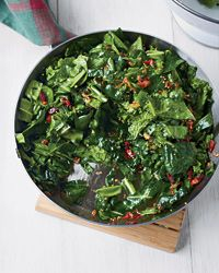 Sautéed Spring Greens with Bacon and Mustard Seeds -- Any spring greens will work for this farmer's market fresh recipe.