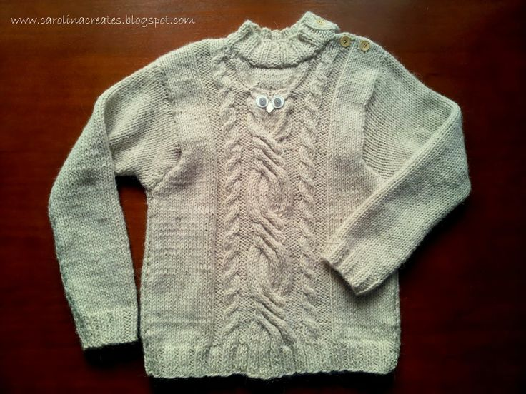 Carolina Creates - An Owl Cable Sweater for boy size 122 - yarn Drops Lima
