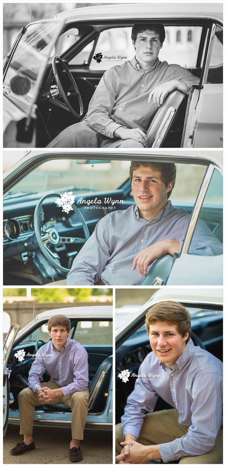 Senior portrait ideas, senior portrait photography, senior images, senior session, boy pose, male senior, guy senior, senior poses, creative, unique, cute guy senior pictures, urban, blazer, classy, antique car, light blue car, mustang