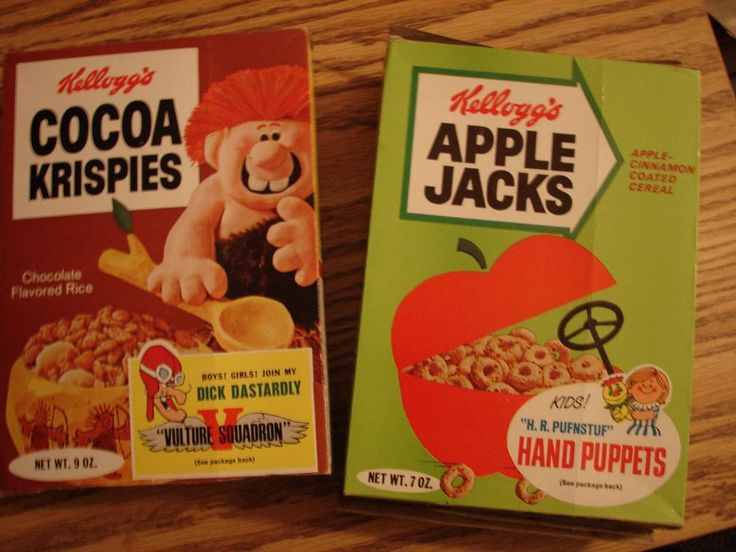 Original 1969-70 Kelloggs Cereal Boxes-Apple Jacks & Cocoa Krispies-Full Size #kelloggs