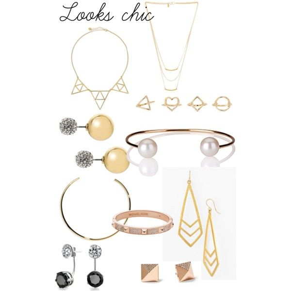 looks chic by ohfanyfany on Polyvore featuring Elizabeth and James, Michael Kors, Jules Smith, Gorjana, Dogeared, Banana Republic, Bling Jewelry and Charlotte Russe