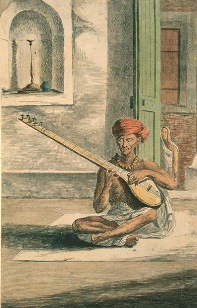 Ilustración del siglo XVIII de un zurdo tocando un sitar, instrumento musical tradicional de la India y Pakistán similar a la guitarra o el laúd.