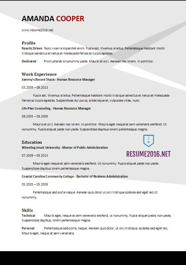 Template 2017 3-Resume Format Pinterest Resume format, Resume