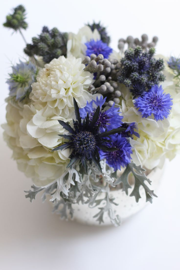 Starry night - blue and white and silver flowers by floret cadet, www.floretcadet.com