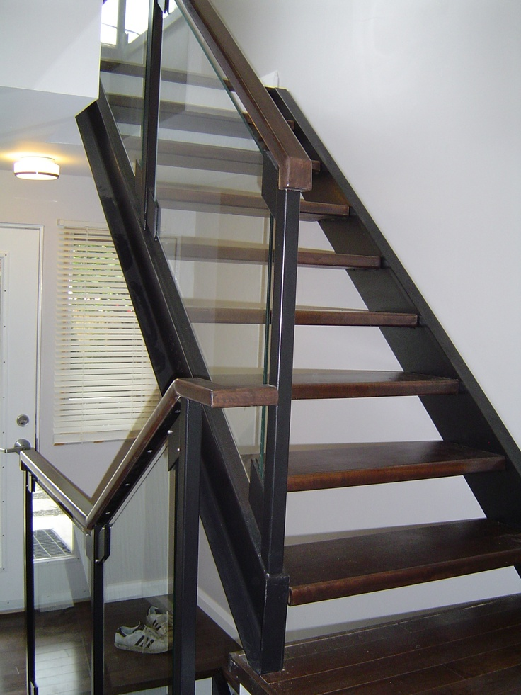Best Solid Stained Maple Wood Treads With Steel Channel 640 x 480