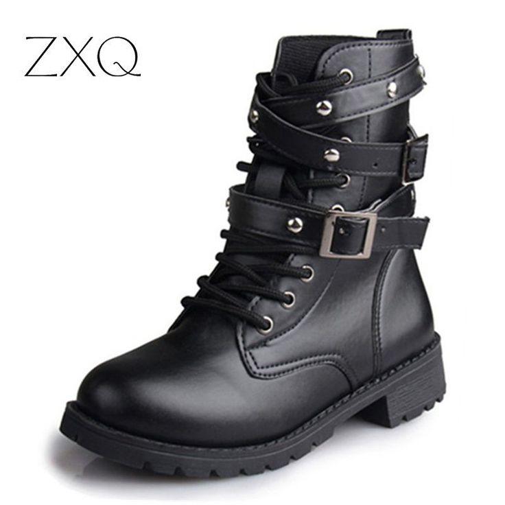 حار بيع أزياء النساء للدراجات النارية السيدات خمر برشام العسكرية الجيش الشرير القوطي أحذية السائق جلد الخريف النساء أحذية الكاحل