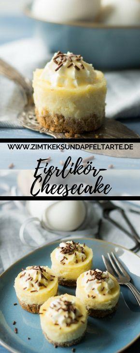 Perfekte Nascherei zu Ostern: kleine cremige Eierlikör-Cheesecakes. Das einfache Rezept gibt es auf dem Blog - perfekt für den Osterbrunch, die Kaffeetafel oder einfach zum zwischendurch naschen