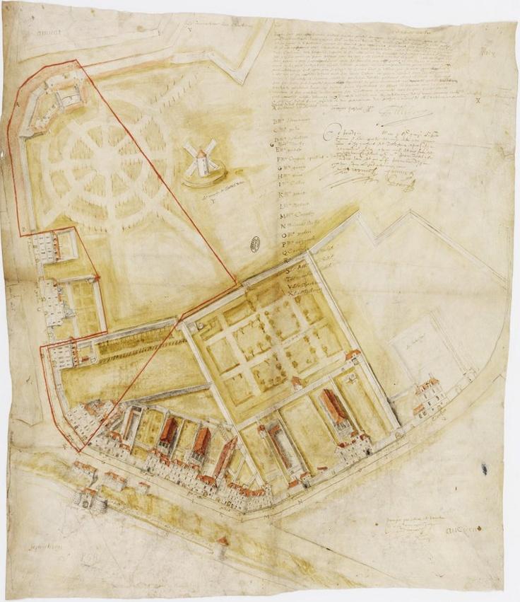 Plan de la Grande confrérie par le peintre François Quesnel, mars 1615  Paris, Archives nationales, S/869 dossier 4  © Archives nationales, France