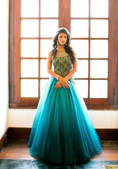Teal ombre ball gown. #Reception #ethnic #Gown #bride @ Looksgud.in