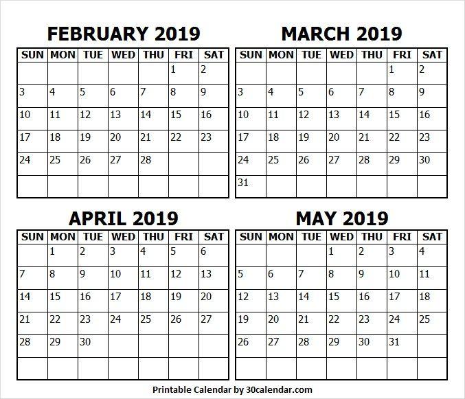 February To May 2019 Calendar Printable June 2019 Calendar