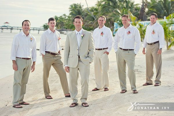 Men Wearing Any White Shirt Khaki Pants Groom Step Up With Suit No Tie Flip Flops Or Shoes Wedding Ideas Pinterest Beach