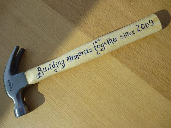 """Personalised 16oz hammer, hand painted using enamels, """"Building memories together since 2009"""", 5th anniversary gift, husband gift, (HM02)"""