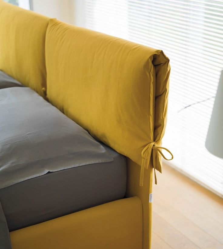 Fabric bed with upholstered headboard WAVE by Hoffmann
