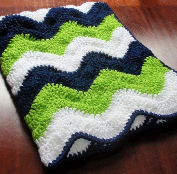 Seahawks colored Ripple Baby Blanket by 3citieshandmade on Etsy, $35.00