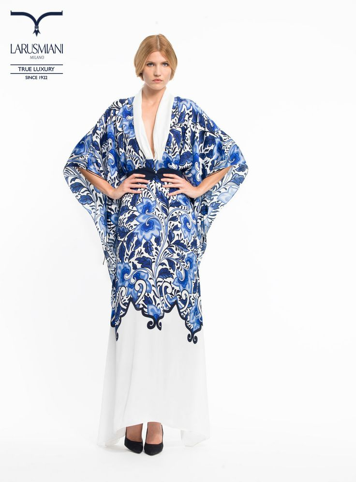 Silk patterned long caftan - www.larusmiani.it #SS2014 #women #fashion #style #larusmiani