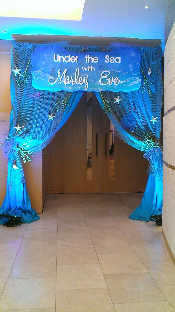 Entryway to Under The Sea Bat Mitzvah  #BarMitzvah #BatMitzvah #MiamiMitzvahPlanner #MiamiEventPlanner #EventDesigner #LifeofthePartyEventsandProductions #MitzvahThemeDecor #BatMitzvahDecortion #UnderTheSea #ThemeParty