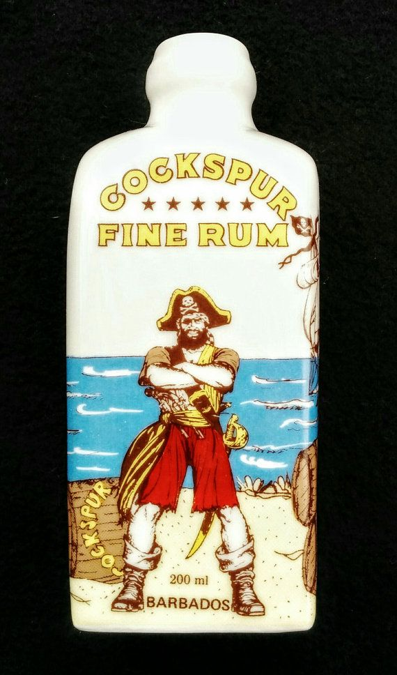Rare Porcelain Cockspur Rum Bottle  200ml by DavesVintageFinds