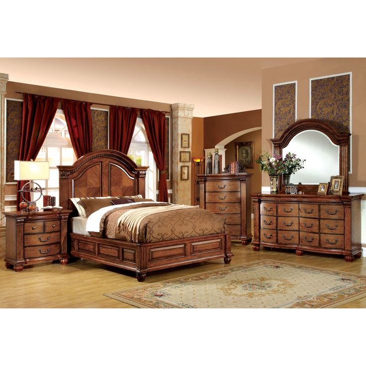 Furniture Of America Traditional Style 4 Piece Antique Tobacco Oak Bedroom Set