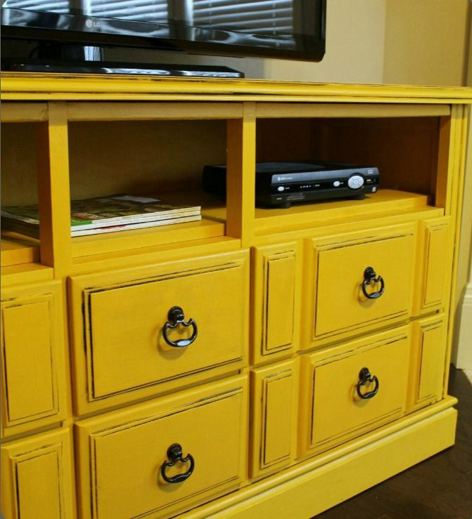 Easy tutorial on how to makeover an old dresser into a TV Console! Love this with the open shelf!
