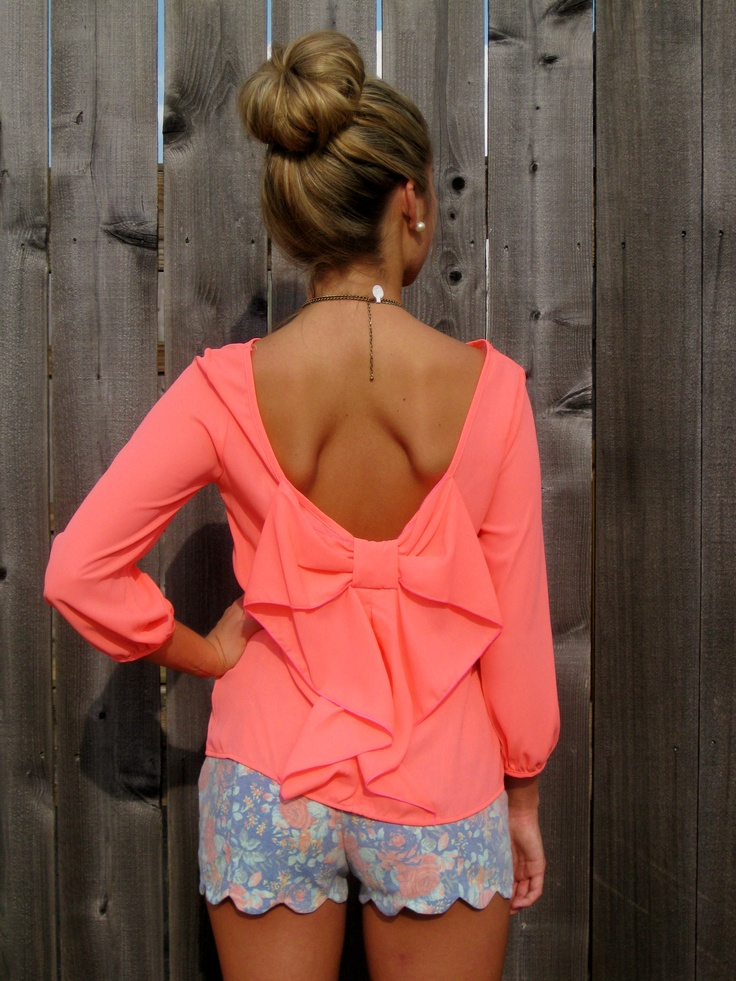 Neon Coral Bow Back Top