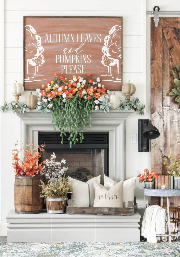 10 Fall Mantel Ideas That Are Seriously Inspiring Fall Mantel Decorations Fall Fireplace Fireplace Mantel Decor