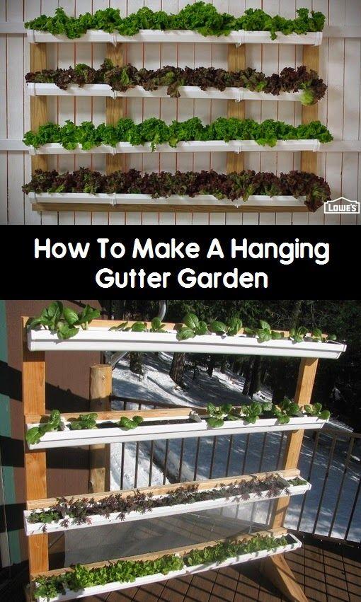 101 Gardening: DIY Hanging Gutter Garden #Container_gardening