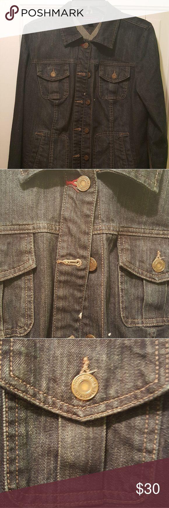Tommy Hilfiger Jean Jacket Tommy Jean Jacket size large, worn one time, stored in a smoke free home Tommy Hilfiger Jackets & Coats Jean Jackets