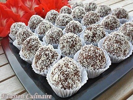 Gâteaux algerien sans cuisson Sous forme de petites truffes au chocolat (bniwen, bniouen)plus précisément au nutella et noix de coco sans cuisson.Très faciles à réaliser et si bonnes à déguster. J'ai utilisé la même recette que les truffes au nutella, gaufrettes et amandes, j'ai juste remplacé les amandes par de la noix de coco. Ingrédients: 200 g de gaufrettes au chocolat 100 g denoix de coco 2 c à s de cacao amer 15 g de beurre fondu 2 c àc d'eau de fleur d'oranger 3 c à s de pâte à…
