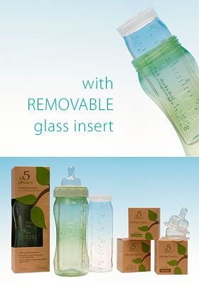 Glass on the inside, plastic on the outside. Brilliant!  5 Phases Glass Baby Bottles  $19.99