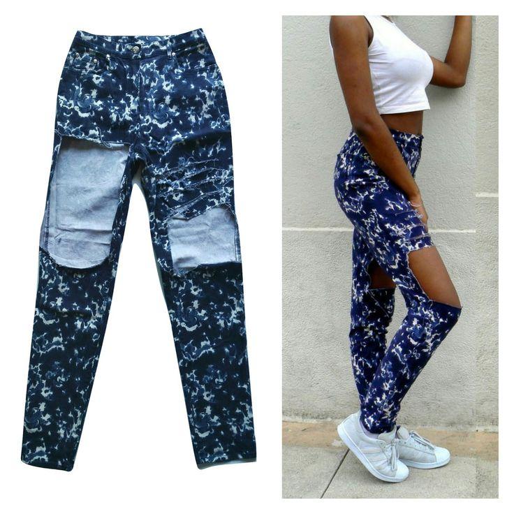 Jean troué, Jean customisé, jean déchiré, jean original, diy, denim, blue, destroy, outfit,