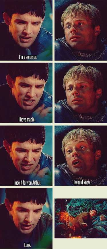 """""""What I love about this scene, is that Merlin is overly emotional when confessing. But when he's performing magic, he's calm and at peace."""""""