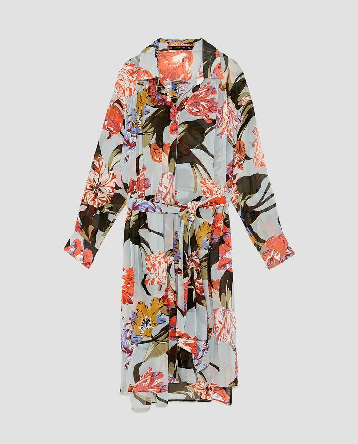 long sleeves chiffon midi shirt dress in floral print  ZARA AW17m