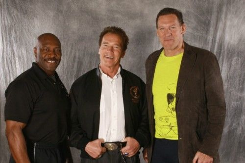 Lee Haney, Arnold and Ralph Mueller from the movie Gladiator