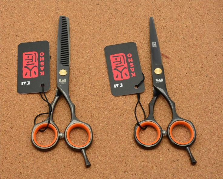 5.5 ''16 cm Japon Kasho Toppest 440C Noir Humain Professionnel Cheveux Ciseaux De Coiffure Cisailles Ciseaux À Effiler H1004