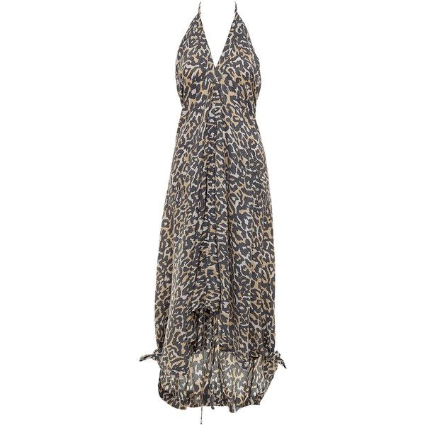 chase the dark leopard maxi dress (230 AUD) ❤ liked on Polyvore featuring dresses, women, tie-dye maxi dresses, leopard maxi dress, low back maxi dress, halter top maxi dress and halter neck maxi dress
