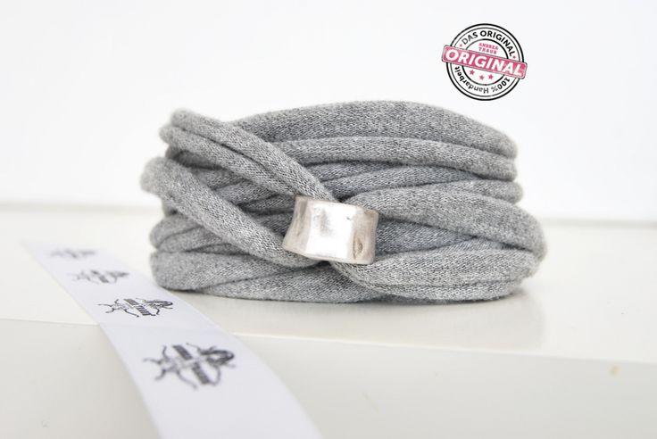 Armband grau gewickelt mit Liebe