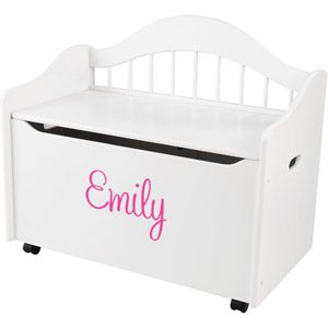 KidKraft - Personalized Limited Edition White Toy Box, Pink Script Girl's Name