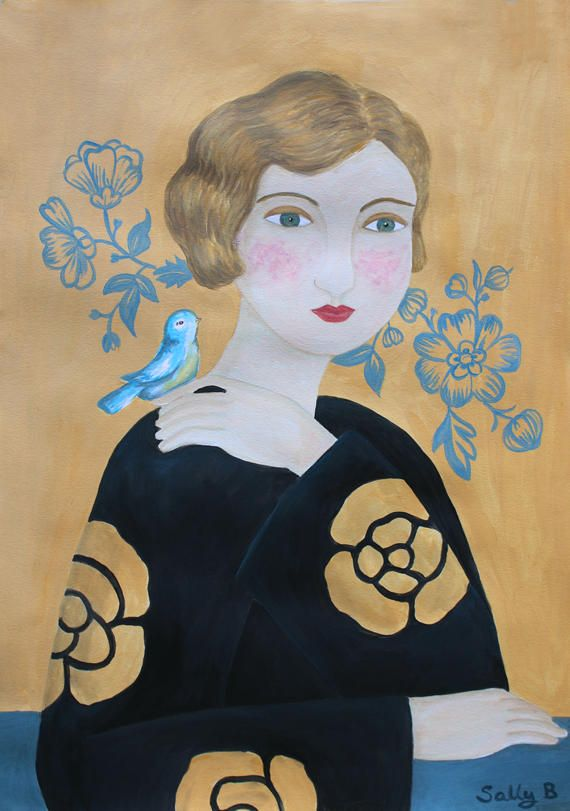 Fantasy Portrait Flapper Girl Blue Bird Naive Art Print Acrylic Lovely Cute retro Potrait