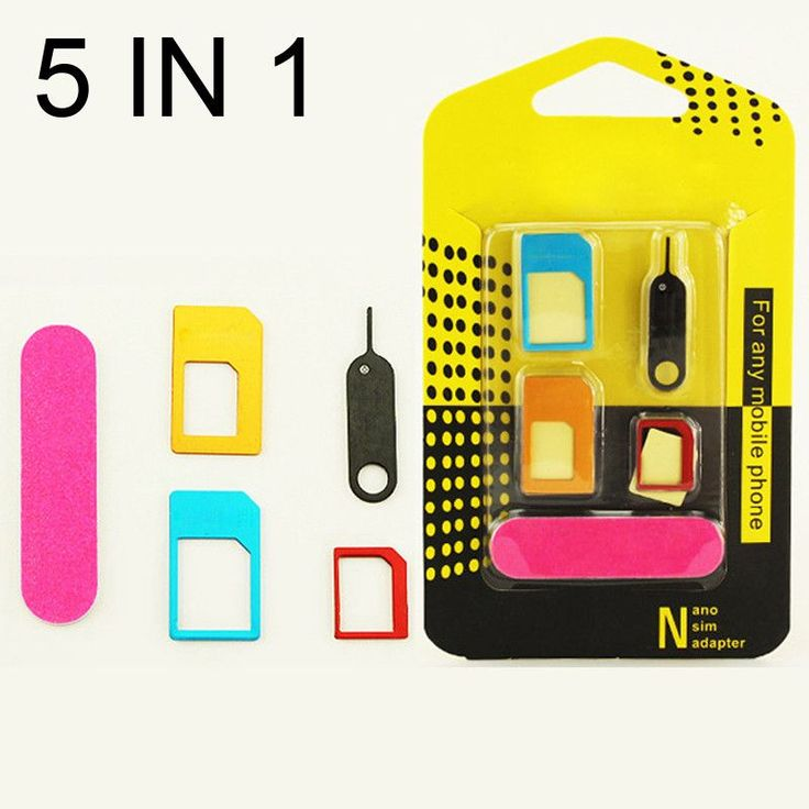 5 in 1 Nano Sim Card Adapters + Regular & Micro Sim + Standard SIM Card & Tools For iPhone 4 4S 5 5c 5s 6 6s Retail Box