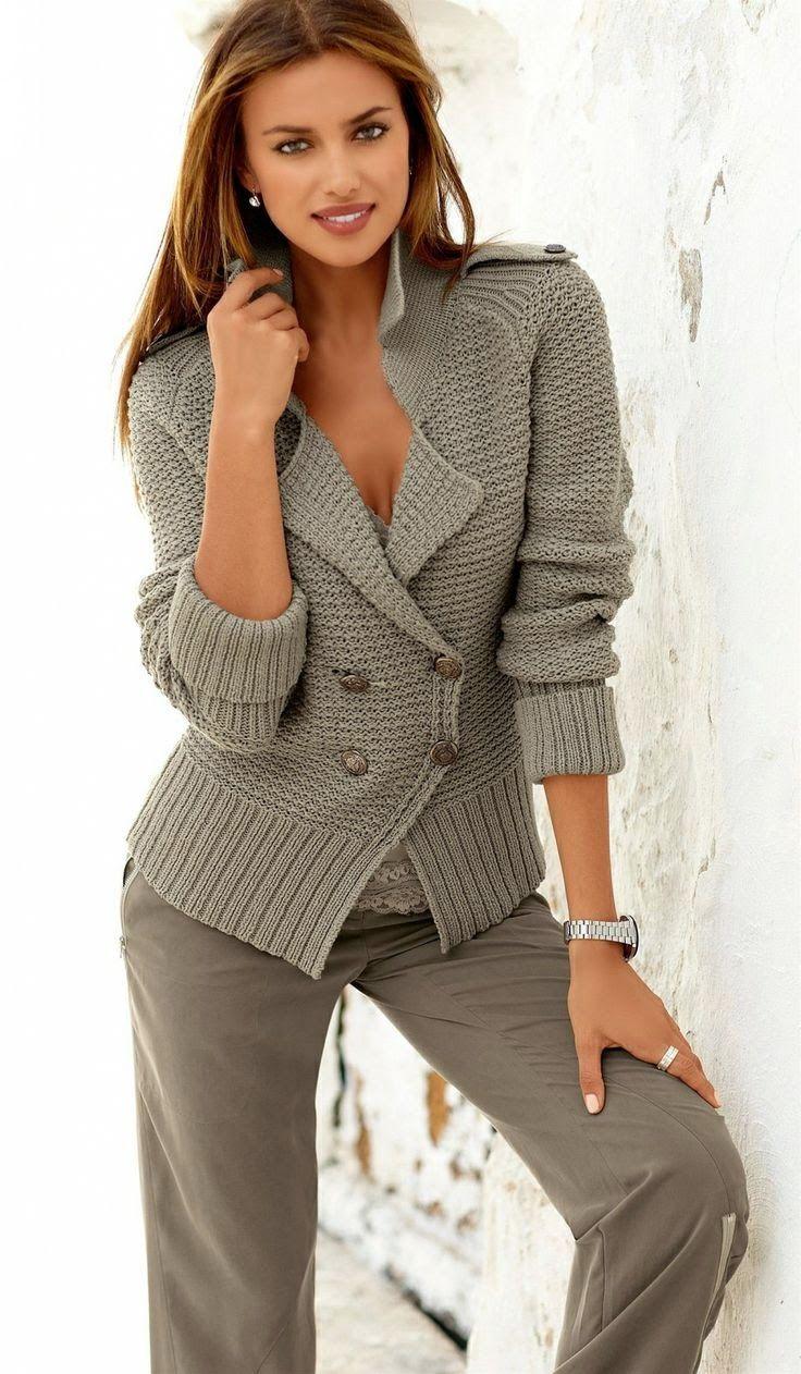 Dziana Moda: Sweter - żakiet na drutach z opisem