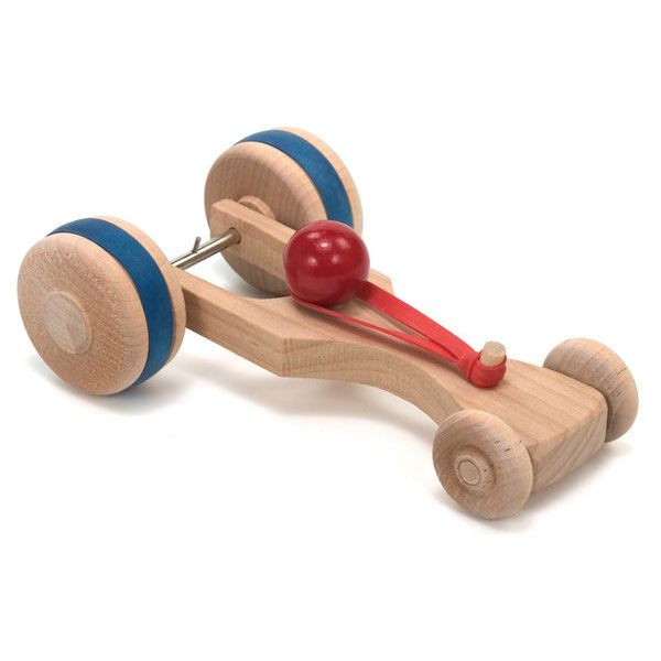 Rubber Band Racer.  Get ready for a zip-zooming ride! Our Rubberband Racer will satisfy a child's need for speed. The wooden car works with the simple technology of a wide rubber band. Secure the band to a pin on the rear axle, wind the wheels and watch it fly!
