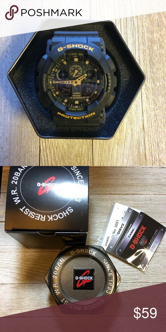 Casio G Shock Black/Gold GA100 sports watch NEW! Selling a brand new Casio G Shock GA100 all black with gold boarders sports watch! Item still he protective film on watch face! Never been worn, looks great for casual or sport! Fast same day shipping! Comes with case, instruction manuals and tag! Casio Accessories Watches