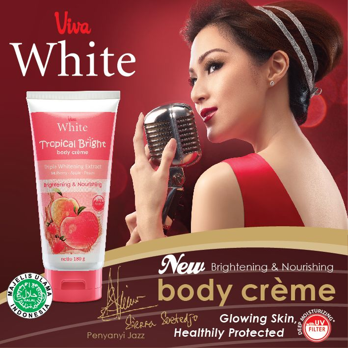 Tropical Bright Body Creme UV Filter - Brightening and Nourishing your Skin with Triple Whitening Extract (Mulberry, Apple & Peach)  http://www.vivacosmetic.com/product/det/577/tropical-bright-body-creme.html