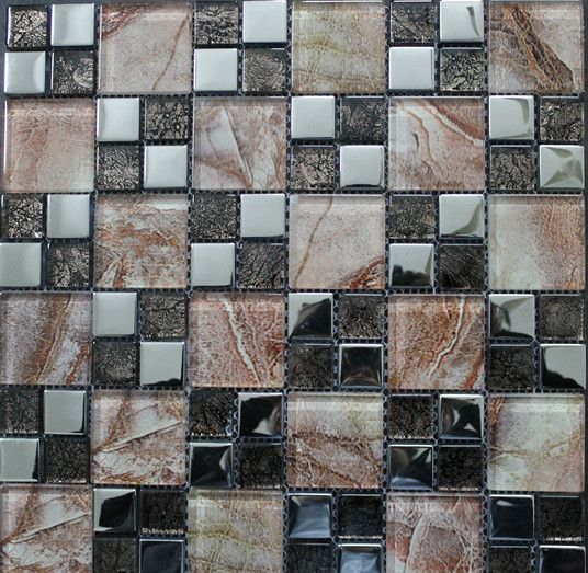 8mmm Mix Color Glass Electroplating Silver Color Mosaic Tiles www.cpmosaic.com