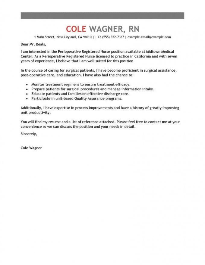 Short Cover Letter For Nurse Position Large Portraits Popular