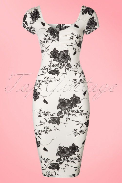 Vintage Chic Printed Pleated White Floral Pencil Dress 100 59 21334 20170403 0001W