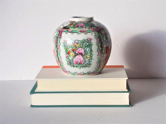Vintage Chinoiserie Vase Ceramic Vase Asian Vase Oriental Vase