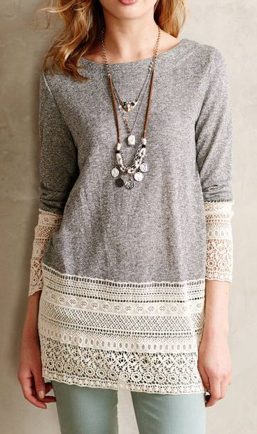 Sunday in Brooklyn Recessed Lace Sweatshirt