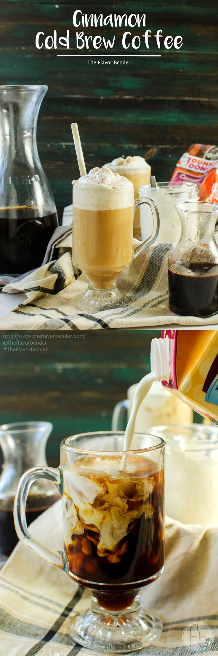 Cinnamon Flavored Cold Brew Coffee - Easy Cold Brew Coffee with pre ground fresh coffee. Make a delicious Cinnamon flavored Cold Brew coffee or frappucino with Cinnamon infused syrup, Cinnamon flavored Coffee and Half and half! Perfect indulgent cafe style Coffee in the comfort of your home! @krogerco @DunkinDonuts #CoffeeCreamerCombos [ad]